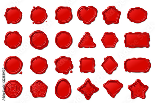 vector red wax seal stamps set © vetrakori