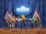 Press conference of president in the White House Washington.  Microphones  of all media with USA flags and White House sign. - 223836085