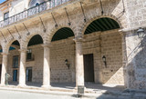 Arcades of the Palace of the Conde Lombillo. in the Cathedral Square, Old Havana, Cuba.