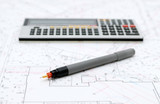 Architectural plans and drawing utensils - 223847276