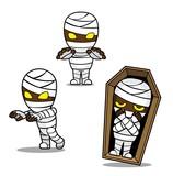 Halloween Character Set Cute Mummy Cartoon Vector Illustration Stroke - 223848440