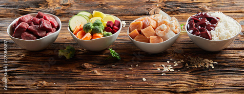 Panorama banner healthy ingredients for pet food