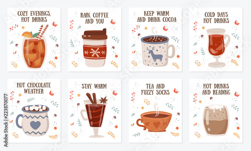 Vector postcard collection with hot drinks and cozy slogan in flat design. Hot chocolate, coffee, cocoa with whipped cream and marshmallow, mulled wine