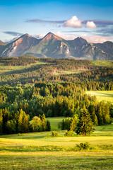 Stunning sunset at Belianske Tatra mountains in summer © shaiith