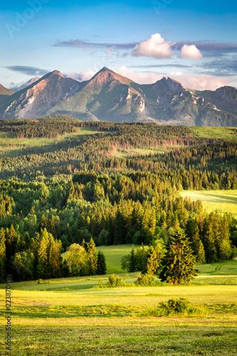 Stunning sunset at Belianske Tatra mountains in summer