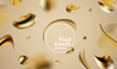 Abstract golden liquid fluid background of modern graphic elements. Dynamic banner with flowing shapes. Template for poster, flyer, presentation, banner. Vector illustration