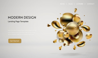 Abstract golden liquid background web design. Landing Page Template for website. Vector illustration