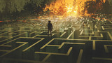 destroyed maze concept showing the man standing in a burnt labyrinth land, digital art style, illustration painting - 223884875