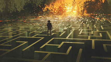 destroyed maze concept showing the man standing in a burnt labyrinth land, digital art style, illustration painting