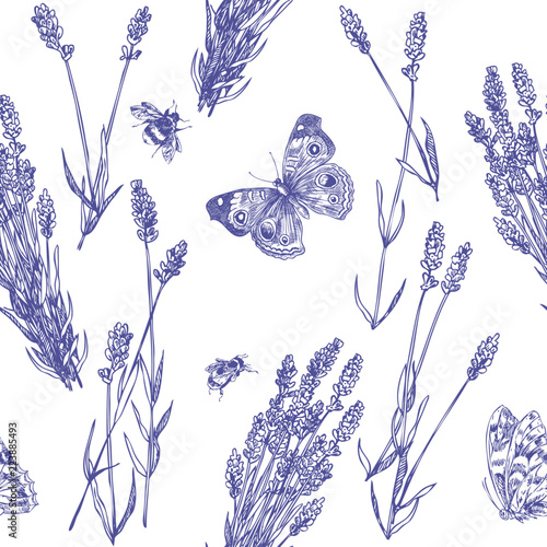 Lavender & Bee pattern - 223885493