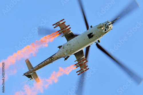 Fototapeta Mi-24 - heavy combat helicopter.