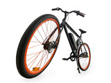 Black electric bike wide angle view isolated with clipping path - 223900263