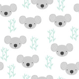 Seamless pattern with koala and bamboo. Childish fashion print. Vector hand drawn illustration. - 223920280