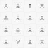 Professions line icon set with painter, astronaut and welder - 223928693