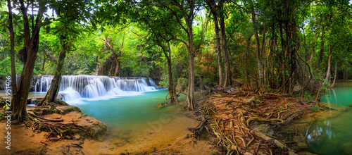 Waterfall in Thailand, called Huay or Huai mae khamin in Kanchanaburi Provience - 223951406