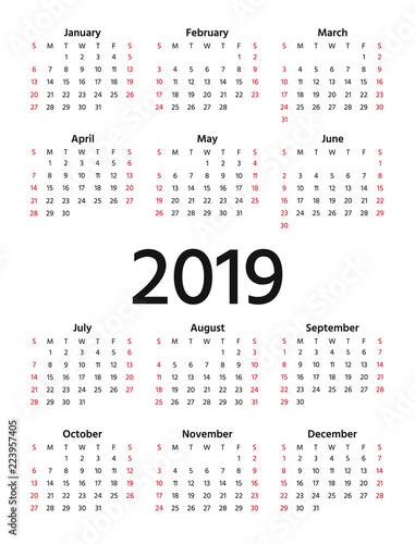 2019 calendar vector week starts sunday in minimal simple design stationery 2019 year