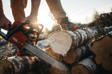 Close-up view on chainsaw in lumberjack hands. Professional lumberjack sawing a big tree using chainsaw