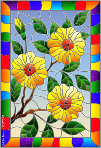 illustration-in-stained-glass-style-with-a-branch-of-a-flowering-plant-with-yellow-flowers-on-a-blue-background-in-a-bright-frame-rectangular-image