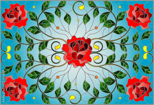 illustration-in-stained-glass-style-with-red-rose-branches-on-blue-background-rectangular-image