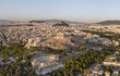 Aerial view of Athens at sunset with Acropolis in the foreground
