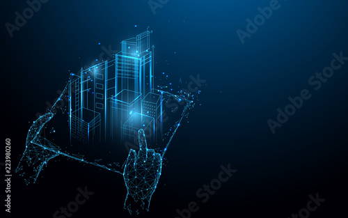 Hands holding blue print with architect form lines, triangles and particle style design. Illustration vector - 223980260