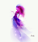 Purple decorative composition with girl on the white background. Magenta particles and shapes formed abstract woman figure.