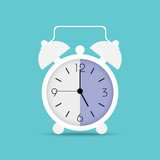 Clock icon in trendy flat style. Alarm clock, wake - up time. White clock with shadow on blue background - 223985223