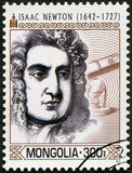 MONGOLIA - 2014: shows portrait of Isaac Newton (1642-1727)