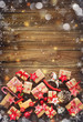 Leinwanddruck Bild - Christmas background with decorations and gift boxes