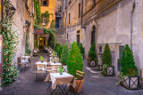 Cozy street with plants in downtown, Rome, Europe. Turistic attraction of Rome.