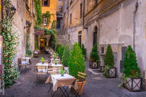 Wygodna ulica z roślinami w śródmieściu, Rzym, Europa. Turystyczne przyciąganie Rzymu.