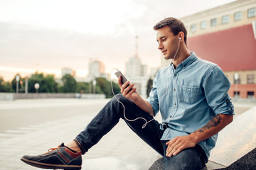 Phone addict man cannot live without gadget
