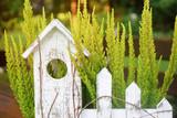 Wrzos domek drewniany kompozycja