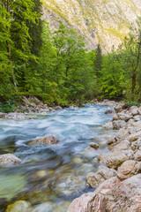mountain river on the bachground rocks, Slovenia, Europe