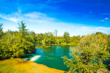 Croatia, Mreznica river Karlovac county, green water landscape, beautiful nature, panoramic view  - 224026015