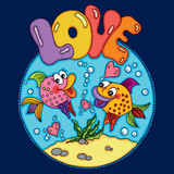 Two loving fishes swim in round sea  background - 224030888