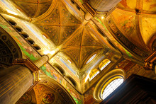 """Постер, картина, фотообои """"The interior of the Cathedral in Cremona, Italy with frescoes on the ceiling."""""""