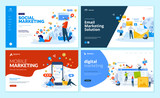 Set of web page design templates for digital marketing, mobile solutions, networking and email marketing. Modern vector illustration concepts for website and mobile website development.  - 224041251