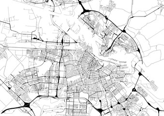 Monochrome city map with road network of Amsterdam