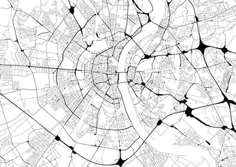 Monochrome city map with road network of Cologne