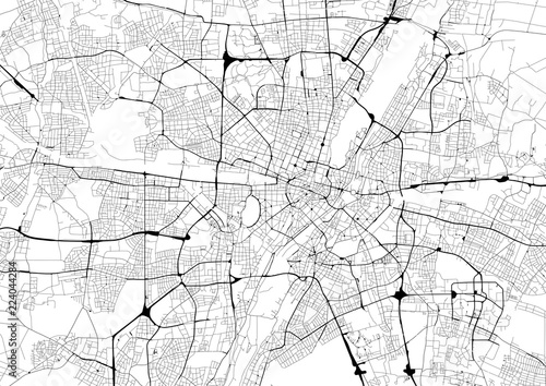 Monochrome city map with road network of Munich - 224044284
