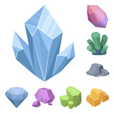 Precious Minerals cartoon icons in set collection for design. Jeweler and Equipment vector symbol stock web illustration. - 224068432