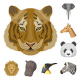 Wild animal cartoon icons in set collection for design. Mammal and bird vector symbol stock web illustration. - 224068441