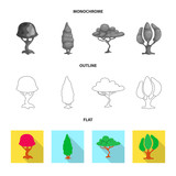 Isolated object of tree and nature sign. Collection of tree and crown stock vector illustration. - 224072244
