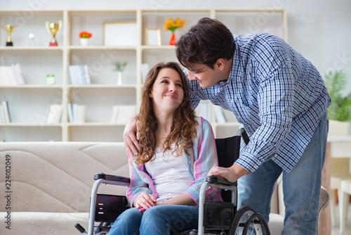 Leinwandbild Motiv Young family taking care of each other