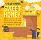 Natural honey sweet food with bees and hive