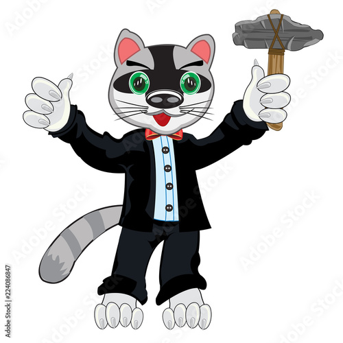 Cartoon animal racoon in fashionable suit with stone gavel