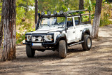 White 4x4 off road car forest Photo offroad