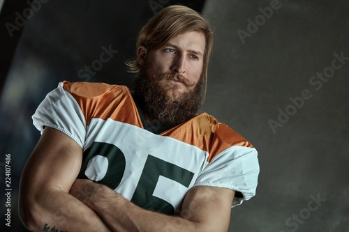 Portrait of bearded american football player