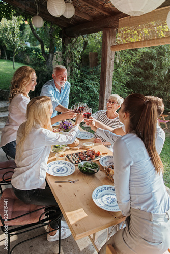 Family cheering over the dining table outdoors, celebration  - 224119441
